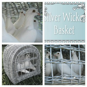 2 silver wicker baskets can hold up to 7 doves each front swinging door for release