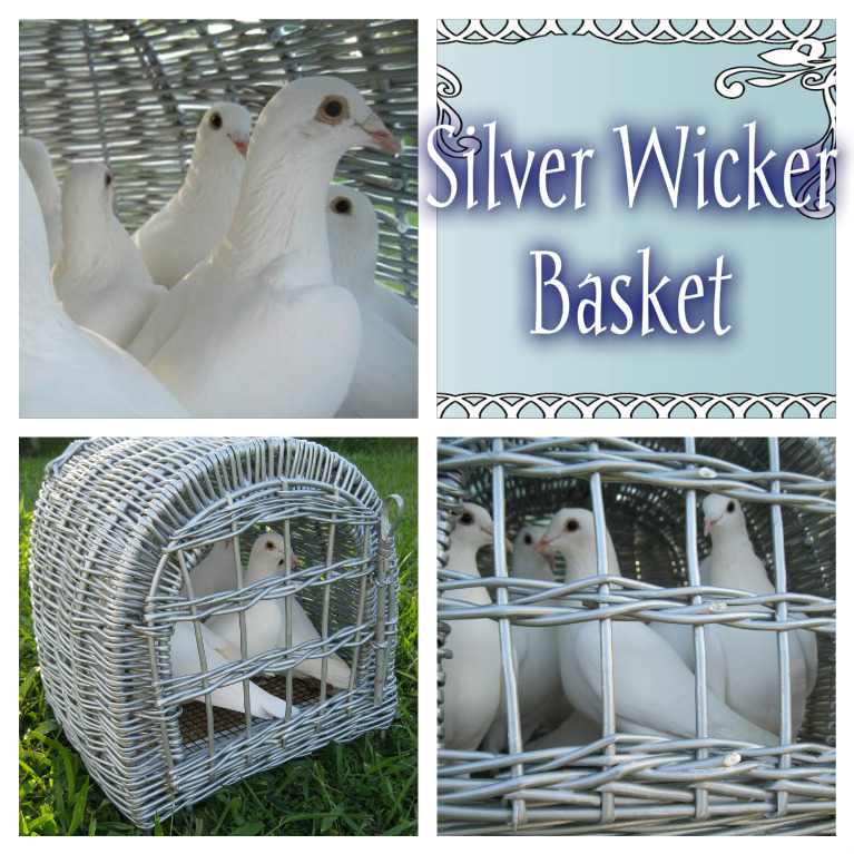 2 Silver wicker baskets front swinging door can hold up to 7 doves each suitable for Bridal Car dove release & Formal Car Dove release.